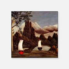 "Henri Rousseau - The Banks  Square Sticker 3"" x 3"""