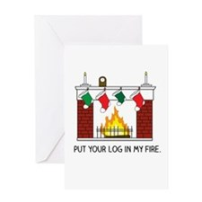 Log in my Fire Greeting Cards