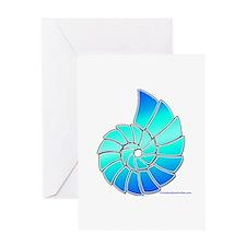 Aqua Nautilus Shell Greeting Card