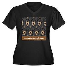 Kelpie Fan Women's Plus Size V-Neck Dark T-Shirt
