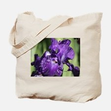 Purple White Bearded Iris Flower Tote Bag