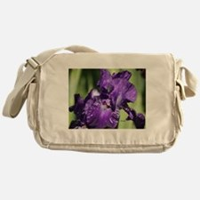 Purple White Bearded Iris Flower Messenger Bag