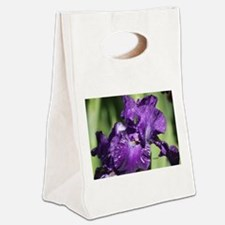 Purple White Bearded Iris Flower Canvas Lunch Tote