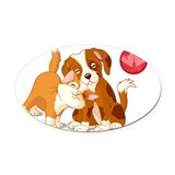 Cat and dog Oval Car Magnets