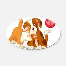 Cat and Dog Pals Oval Car Magnet