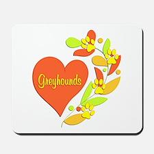 Greyhound Heart Mousepad