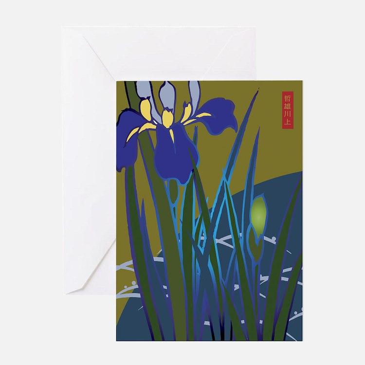 Lavender Iris Japanese Design Greeting Card
