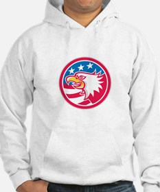 American Bald Eagle Head Flag Circle Retro Hoodie