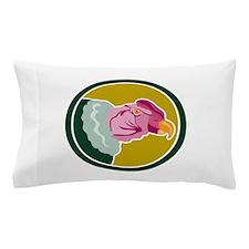 California Condor Head Circle Retro Pillow Case