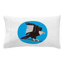 California Condor Perching Branch Circle Retro Pil