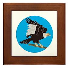 California Condor Perching Branch Circle Retro Fra