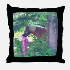 Girl with Horse Throw Pillow