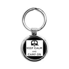 keep calm and camp on Round Keychain