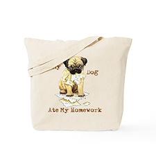 Pug Ate Homework Tote Bag