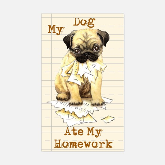 Pug Ate Homework Rectangle Decal