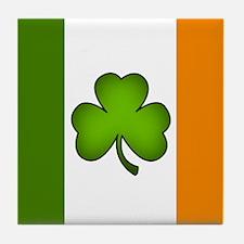 Irish Flag Shamrock Tile Coaster