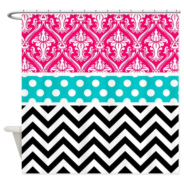 Pink Teal Black Damask Chevron Shower Curtain By CupcakesandSprinklesBirthday