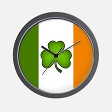 Irish Flag Shamrock Wall Clock