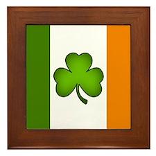 Irish Flag Shamrock Framed Tile