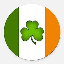 Irish Flag Shamrock Round Car Magnet