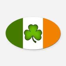 Irish Flag Shamrock Oval Car Magnet