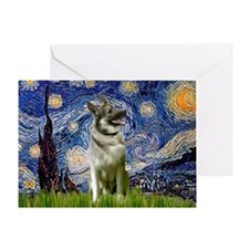 Starry Night Elkhound Greeting Card