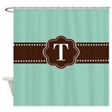 Mint green and brown Shower Curtains