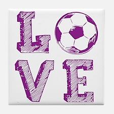 Girly Love Soccer Tile Coaster
