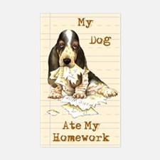 Basset Ate Homework Rectangle Decal