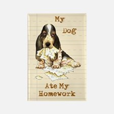 Basset Ate Homework Rectangle Magnet