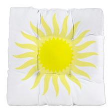 Yellow Sunburst Tufted Chair Cushion
