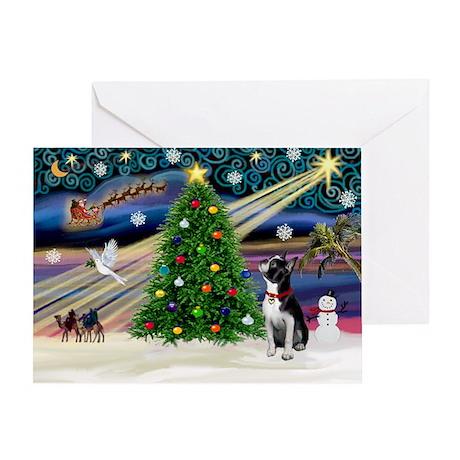 Xmas Magic/Boston Terrier Greeting Card