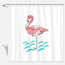 FLAMINGO IN WATER Shower Curtain