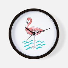 FLAMINGO IN WATER Wall Clock