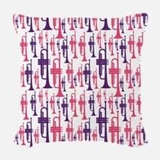 Pink and Purple Trumpet Woven Throw Pillow