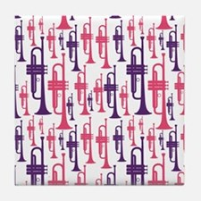 Pink and Purple Trumpet Tile Coaster