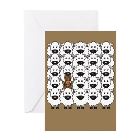 Red Kelpie and Sheep Greeting Card