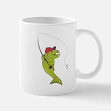 Trout Fly Fishing Rod Hook Cartoon Mugs