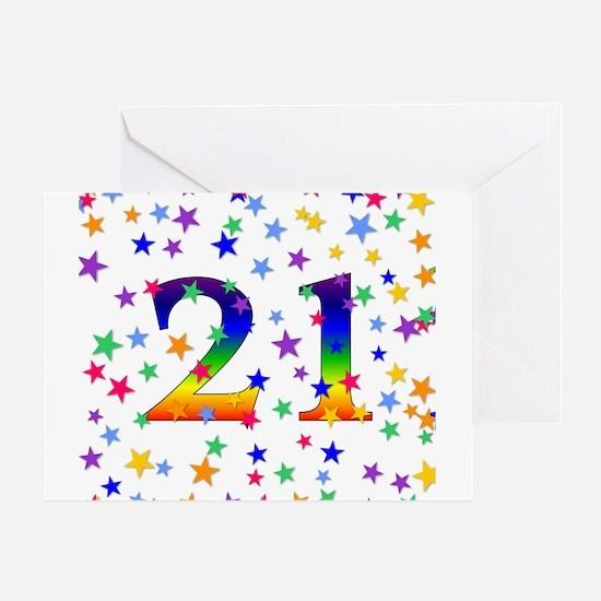 Rainbow Stars 21st Birthday Greeting Card