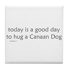 Hug a Canaan Dog Tile Coaster