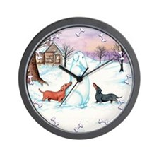Snow Dachshunds Wall Clock
