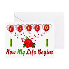 Life Begins At Fifty Greeting Card