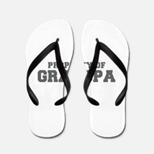 PROPERTY OF Grandpa-Fre gray 600 Flip Flops