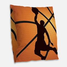 Basketball dunk Burlap Throw Pillow