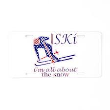 United States Ski snow fun design Aluminum License