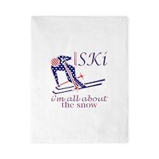 United States Ski snow fun design Twin Duvet