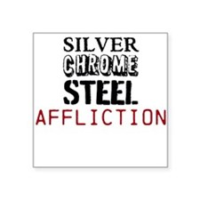 silver chrome steel affliction Sticker