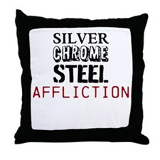 silver chrome steel affliction Throw Pillow