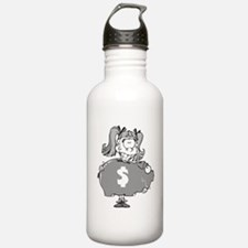 Girl With Piggy Bank Water Bottle