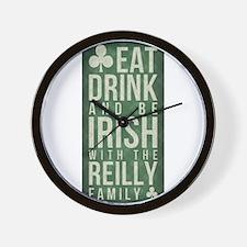 eat, drink, Irish, Reilly Wall Clock